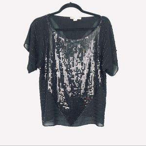 GUC Forever 21 Black Chiffon Sequin & Beaded Top